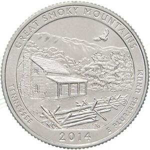 2014 S PARKS QUARTER ATB GREAT SMOKY MOUNTAIN BU CN CLAD US COIN