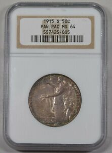1915 S PANAMA PACIFIC COMMEMORATIVE HALF DOLLAR NGC MS64 AWESOME RAINBOW TONED