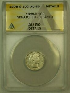 Click now to see the BUY IT NOW Price! 1898 O BARBER DIME 10C ANACS AU 50 DETAILS CLEANED SCRATCHED  RS