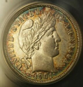 1901 O BARBER DIME 10C ANACS AU 58 DETAILS CLEANED  BEAUTIFUL TARGET TONING  RS