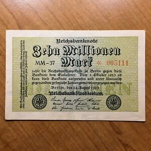 Click now to see the BUY IT NOW Price! 1923 GERMANY 10 MILLION MARK BANKNOTE PICK 106 AU   REPLACEMENT
