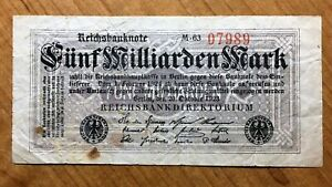 Click now to see the BUY IT NOW Price! 1923 GERMANY 5 BILLION MARK BANKNOTE PICK 123 1923.10.20 SERIAL NUMBER 07989