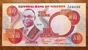 Click now to see the BUY IT NOW Price! 1984 NIGERIA 10 NAIRA BANKNOTE PICK 25E SIG.10 UNC.