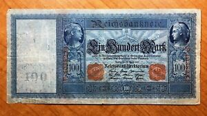 Click now to see the BUY IT NOW Price! 1910 GERMANY 100 MARK BANKNOTE RED SERIAL  PICK 42 BLUE PAPER TINT