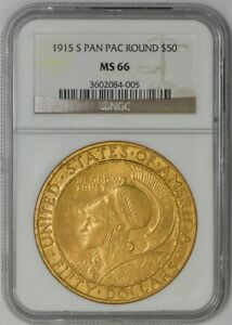 Click now to see the BUY IT NOW Price! 1915 S $50 GOLD PAN PAC ROUND MS66 NGC 942668 10