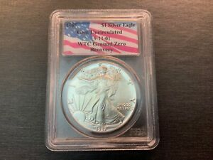 1987 $1 AMERICAN SILVER EAGLE PCGS GEM UNC   WTC GROUND ZERO RECOVERY NICE