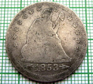 UNITED STATES 1853 QUARTER SEATED LIBERTY WITH RAYS AND DATE ARROWS SILVER