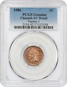 1886 1C PCGS AU DETAILS  TYPE 1 CLEANED    INDIAN CENT