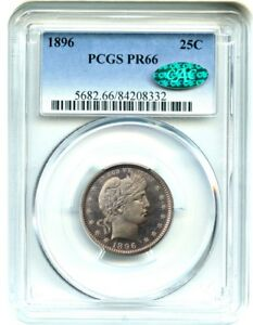 1896 25C PCGS/CAC PR 66   ROSE AND GRAY TONING   BARBER QUARTER
