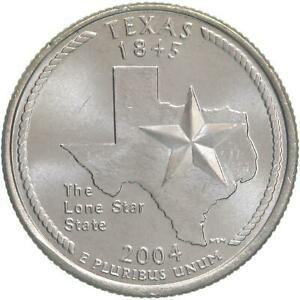 2004 P STATE QUARTER TEXAS CHOICE BU CN CLAD US COIN