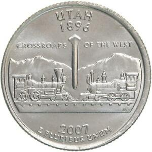 2007 P STATE QUARTER UTAH CHOICE BU CN CLAD US COIN