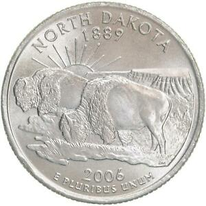 2006 P STATE QUARTER NORTH DAKOTA CHOICE BU CN CLAD US COIN