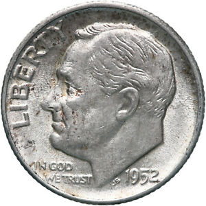 1952 ROOSEVELT DIME 90  SILVER ABOUT UNCIRCULATED AU