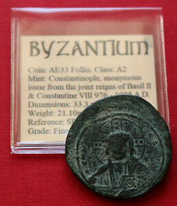Click now to see the BUY IT NOW Price! GENUINE BYZANTINE COIN AE33 FOLLIS CHRIST PANTOCRATOR CROSS BASIL II 1025AD