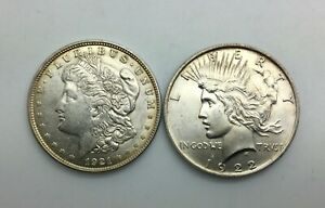 Click now to see the BUY IT NOW Price! 1921 P MORGAN DOLLAR 1922 P PEACE $ PAIR  LUSTROUS COINS GREAT GIFT IDEA