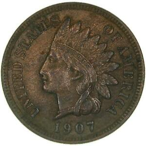 1907 INDIAN HEAD CENT ABOUT UNCIRCULATED PENNY AU SEE PHOTOS B880