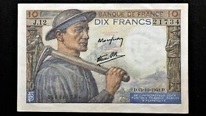Click now to see the BUY IT NOW Price! 1942 FRANCE 10 FRANCS BANKNOTE 15 10 1942 PICK 99D SERIES J.12 HIGH GRADE