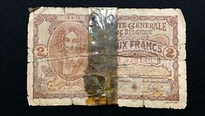 Click now to see the BUY IT NOW Price! 1915 BELGIUM 2 FRANC BANKNOTE PICK 87   GERMAN OCCUPATION   WORLD WAR ONE