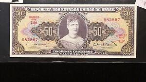 Click now to see the BUY IT NOW Price! 1953 BRAZIL 50 CRUZEIROS BANKNOTE   ESTAMPA 2 TDLR   PICK 179   UNC.