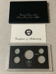 1996  SILVER  PROOF SET BOX AND LENS ONLY