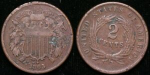 1865  TWO CENT PIECE   RETAINED CUD OBVERSE