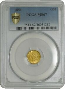Click now to see the BUY IT NOW Price! 1851 $ GOLD LIBERTY DOLLAR MS67 SECURE PLUS PCGS 942676 8