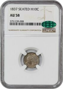 1837 H10C NGC/CAC AU58  NO STARS LARGE DATE  ONE YEAR TYPE COIN