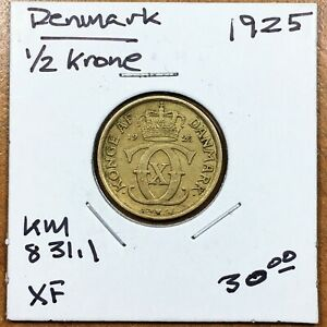 Click now to see the BUY IT NOW Price! 1925 H  HCN; GJ DENMARK 1/2 KRONE COIN KM 831.1  BETTER DATE