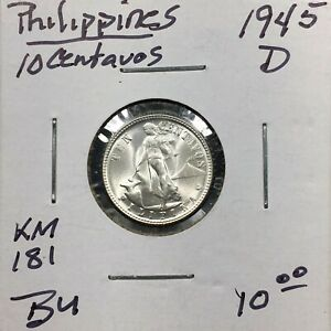 Click now to see the BUY IT NOW Price! 1945D PHILIPPINES 10 CENTAVOS SILVER KM 181 BU