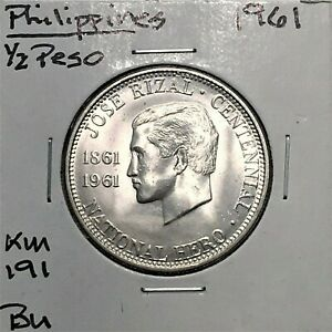 Click now to see the BUY IT NOW Price! 1961 PHILIPPINES 1/2 PESO DR. JOSE RIZAL COMMEMORATIVE SILVER KM 191 BU