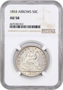 1854 50C NGC AU58  ARROWS  DESIRABLE 2 YEAR TYPE COIN ISSUE