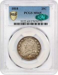 Click now to see the BUY IT NOW Price! 1818 25C PCGS/CAC MS65   NICE ORIGINAL GEM   DRAPED BUST QUARTER