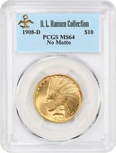 Click now to see the BUY IT NOW Price! 1908 D $10 PCGS MS64  NO MOTTO  EX: D.L. HANSEN   INDIAN EAGLE   GOLD COIN