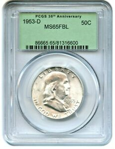 Click now to see the BUY IT NOW Price! 1953 D 50C PCGS MS65 FBL  RETRO OGH    FRANKLIN HALF DOLLAR