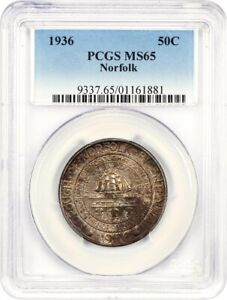 1936 NORFOLK 50C PCGS MS65   LOW MINTAGE ISSUE   SILVER CLASSIC COMMEMORATIVE