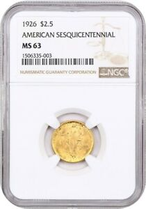 1926 SESQUICENTENNIAL $2 1/2 NGC MS63   CLASSIC COMMEMORATIVE   GOLD COIN