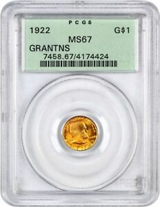 1922 GRANT WITHOUT STAR G$1 PCGS MS67  OGH    CLASSIC COMMEMORATIVE   GOLD COIN