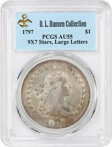 Click now to see the BUY IT NOW Price! 1797 $1 PCGS AU55  9X7 STARS LARGE LETTERS  EX: D.L. HANSEN   LOVELY AU