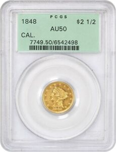 Click now to see the BUY IT NOW Price! 1848 CAL. $2 1/2 PCGS AU50  OGH    2.50 LIBERTY GOLD COIN