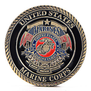 US MARINE CORPS GOLD PLATED COIN COLLECTION ART GIFT COMMEMORATIVE COINS B$B O