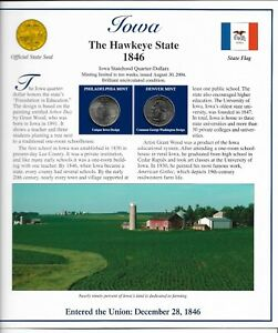 IOWA THE HAWKEYE STATE P & D UNCIRCULATED 2004 QUARTER AND STAMP SET
