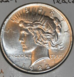 1922 P AU DETAILS ALMOST UNCIRCULATED PEACE SILVER DOLLAR $1 COIN
