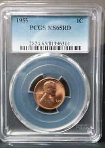 1955 LINCOLN CENT MS65RD PCGS CERTIFIED