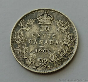 1909 CANADA 10 TEN CENT .925 STERLING SILVER COIN