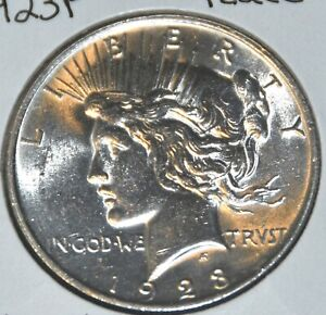 1923 P AU DETAILS ALMOST UNCIRCULATED PEACE SILVER DOLLAR $1 COIN
