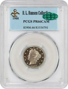 Click now to see the BUY IT NOW Price! 1908 5C PCGS/CAC PR 66 CAM EX: D.L. HANSEN   BEAUTIFUL CAMEO GEM