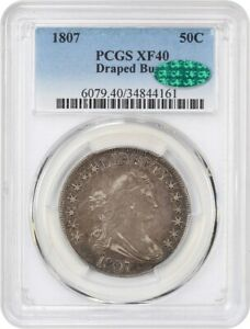1807 50C PCGS/CAC XF40  DRAPED BUST  GREAT EARLY TYPE COIN   BUST HALF DOLLAR