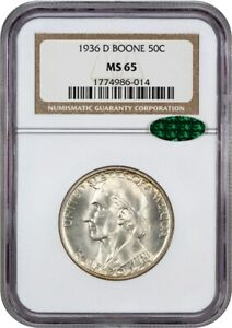 1936 D BOONE 50C NGC/CAC MS65   LOW MINTAGE ISSUE   SILVER CLASSIC COMMEMORATIVE