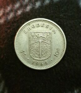 1964   RHODESIA   ONE SHILLING   10C COIN
