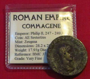 Click now to see the BUY IT NOW Price! GENUINE ROMAN COIN PHILIP II SESTERTIUS TEMPLE ZEUGMA COMMAGENE
